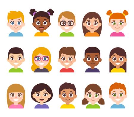 Ilustración de Cartoon children avatar set. Cute diverse kids faces, vector clipart illustration. - Imagen libre de derechos