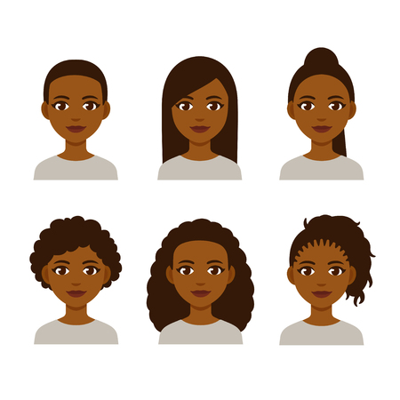 Ilustración de Black women faces with different hair styles. Cartoon African girls with natural hairstyles and straightened hair. - Imagen libre de derechos