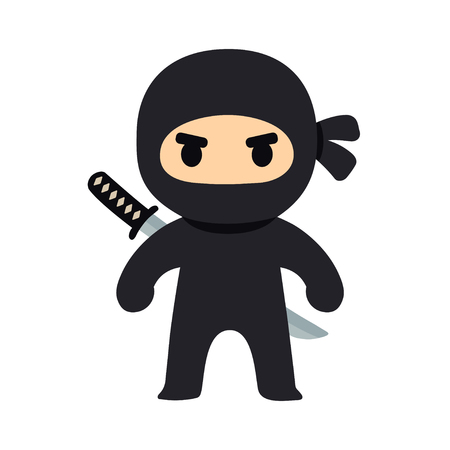 Illustration pour Cartoon ninja drawing in chibi manga style. Cute vector illustration. - image libre de droit