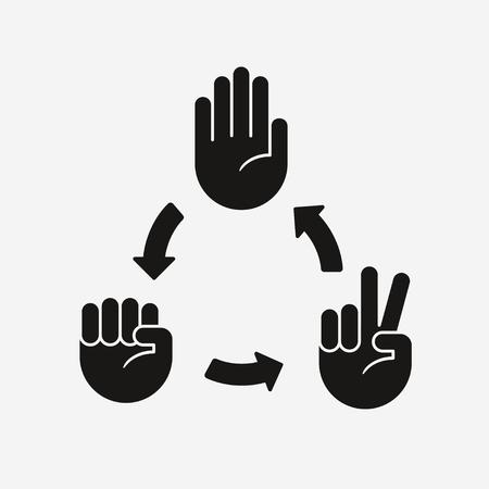 Ilustración de Rock Paper Scissors game diagram. Hand icons with arrows showing which gesture wins. - Imagen libre de derechos