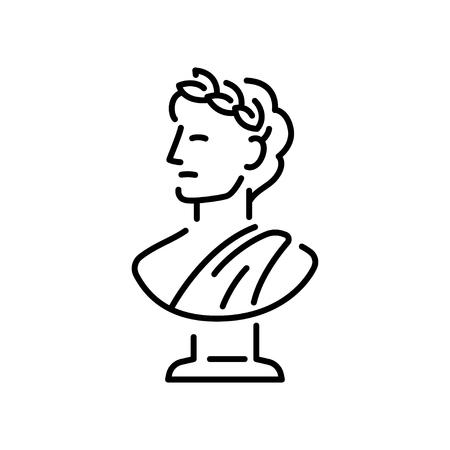Ilustración de Ancient Greek sculpture with a laurel wreath. - Imagen libre de derechos