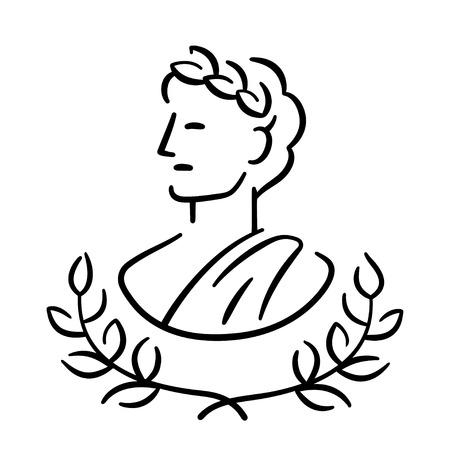 Ilustración de Ancient Greek man profile portrait with laurel wreath. Classic antique logo or icon. Simple modern vector illustration. - Imagen libre de derechos