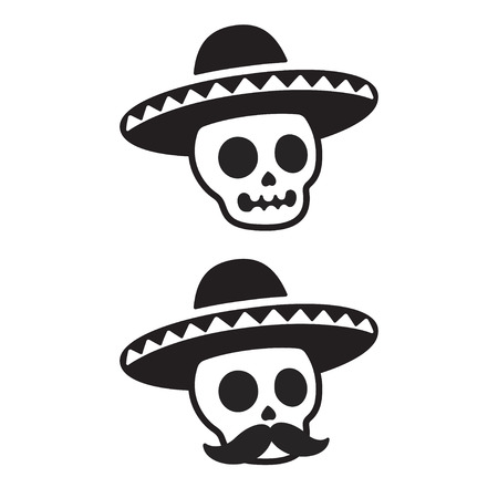 Illustration for Mexican skull in sombrero with mustache. Dia de los Muertos (Day of the Dead) vector illustration. Simple black and white cartoon icon or logo. - Royalty Free Image