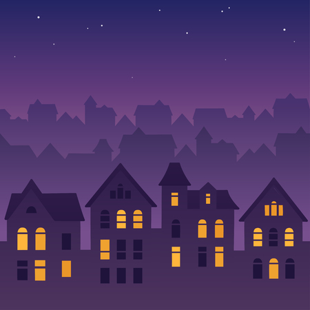 Illustration pour Night city skyline silhouette. Old traditional rooftops and twilight sky. Cartoon vector illustration, seamless tileable from sides. - image libre de droit
