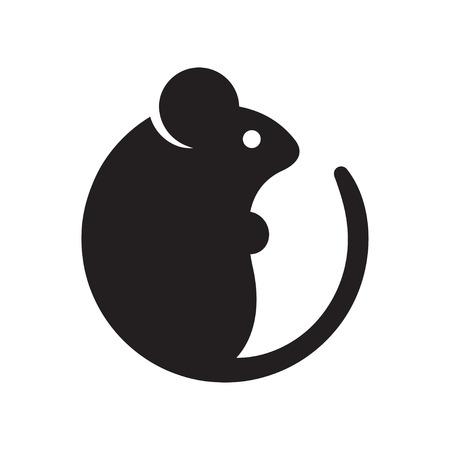 Ilustración de Simple cartoon mouse logo. Modern geometric mouse silhouette, vector illustration. - Imagen libre de derechos