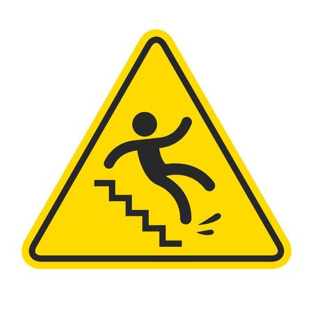 Photo pour Slippery stairs warning. Yellow triangle symbol with stick figure man falling on stairs. Workplace safety and injury vector illustration. - image libre de droit