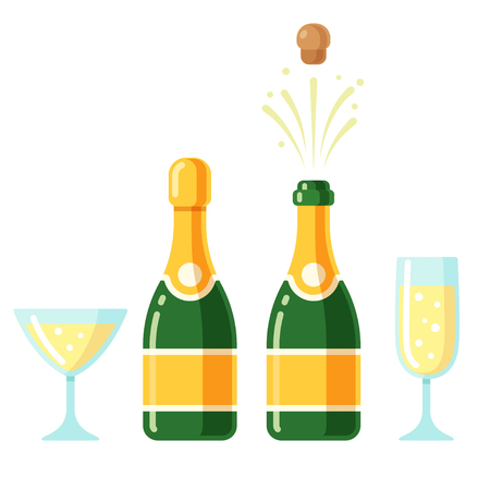 Photo for Champagne bottles and glasses cartoon icon set. Closed and opening bottle, and two flutes filled with sparkling wine. Simple flat cartoon style vector illustration. - Royalty Free Image