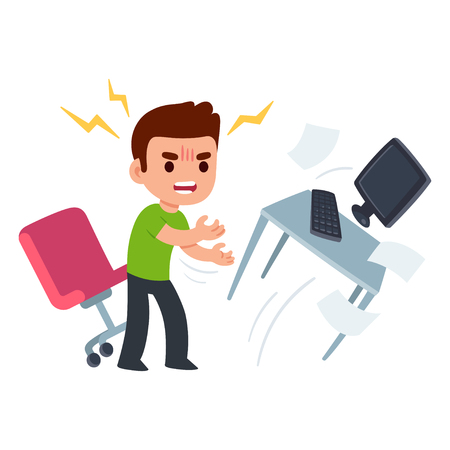 Ilustración de Angry young man at work flipping desk in frustration. Funny flat cartoon vector illustration. - Imagen libre de derechos