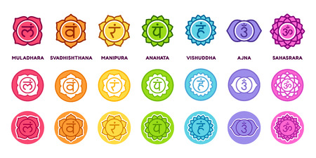 Ilustración de Chakra system icon set in different styles. The seven chakras on colored circles with sanskrit symbols, simple and modern flat vector pictograms. - Imagen libre de derechos