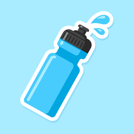 Ilustración de Sports water bottle icon. Blue plastic bottle in flat cartoon style with drops of water. - Imagen libre de derechos