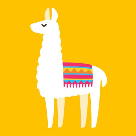 Illustration for Cute cartoon Llama drawing on bright background, simple vector animal illustration. - Royalty Free Image