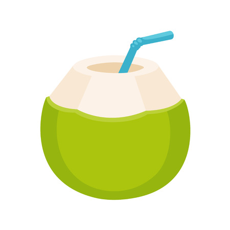 Ilustración de Fresh coconut water drink drawing. Young green coconut with drinking straw, isolated cartoon illustration. - Imagen libre de derechos