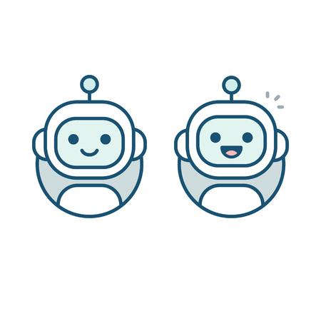 Ilustración de Cute happy robot face avatar. Chat bot vector icon in simple modern flat style. - Imagen libre de derechos