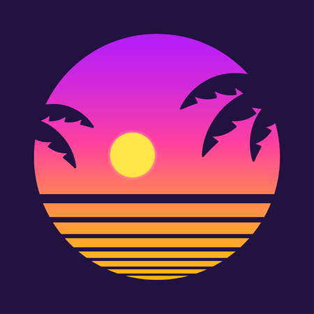 Ilustración de Retro style tropical sunset with palm tree silhouette and gradient background. Classic 80s design vector illustration. - Imagen libre de derechos