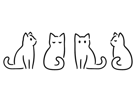 Illustrazione per Minimalist cats drawing set. Cat doodles in abstract hand drawn style, black and white line art vector illustration. - Immagini Royalty Free