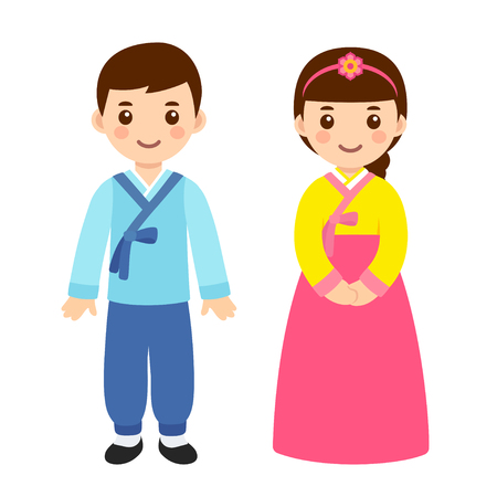 Illustration pour Cute little boy and girl couple in national costume of South Korea. Cartoon children in traditional korean New Year clothes. Vector clip art illustration. - image libre de droit
