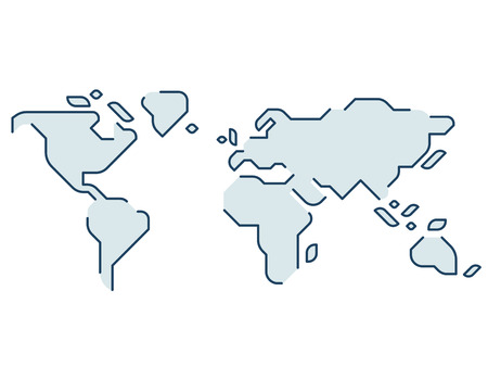 Illustration pour Simple stylized world map. Continents silhouette in minimal line icon style. Isolated vector illustration. - image libre de droit