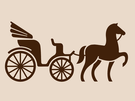 Ilustración de Vintage horse drawn carriage. Stylized silhouette of horse and passenger buggy. - Imagen libre de derechos