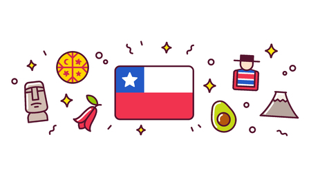 Illustration pour Chile banner design elements. Chilean flag surrounded with traditional signs and symbols. Vector clip art illustration, cute cartoon style. - image libre de droit