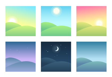 Ilustración de Landscape at different times of day, daily cycle illustration. Beautiful hills at morning, day and night. - Imagen libre de derechos