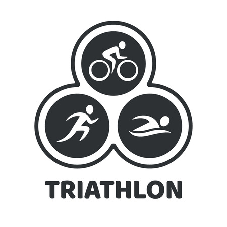 Illustration pour Triathlon event logo. Swim, run and bike icons in simple modern style. Isolated vector symbol. - image libre de droit