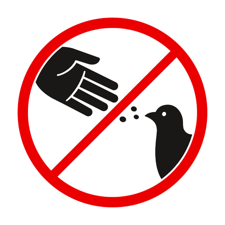 Photo pour Do not feed the birds warning sign, stylized vector pigeon silhouette and hand symbol in crossed red circle. - image libre de droit