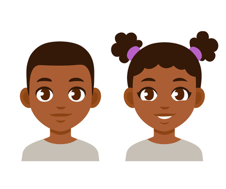 Illustrazione per Cute cartoon black children portraits. African American boy and girl isolated vector illustration. - Immagini Royalty Free