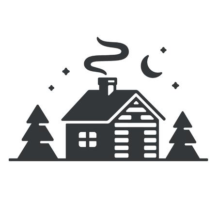 Ilustración de Log cabin in woods icon or logo. Simple wooden cottage at night - Imagen libre de derechos