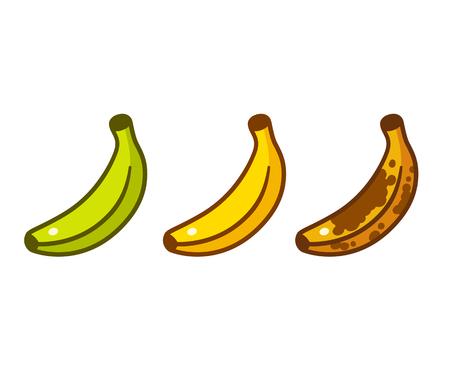 Illustrazione per Banana ripeness color cartoon icon set. Green, ripe yellow, old brown bananas. Cartoon style vector illustration. - Immagini Royalty Free