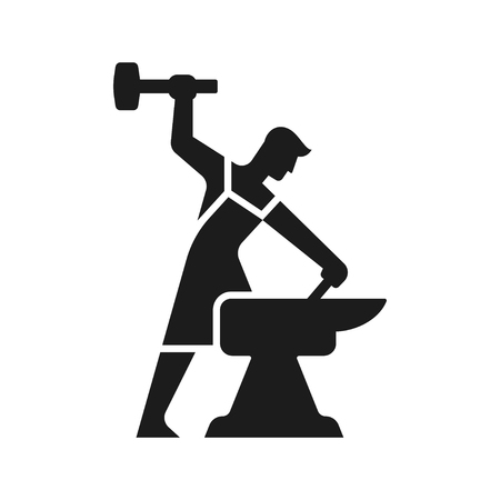Illustration pour Smithy logo. Stylized blacksmith silhouette working with hammer and anvil. Simple modern vector icon. - image libre de droit