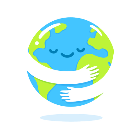 Illustration pour Save the planet, Earth hug drawing. Cute cartoon Earth Day vector clip art illustration. - image libre de droit