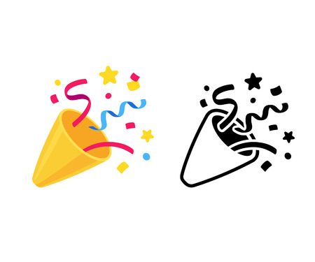 Illustration for Party popper with confetti, cartoon emoji and black and white icon. Isolated vector illustration of birthday cracker symbol. - Royalty Free Image