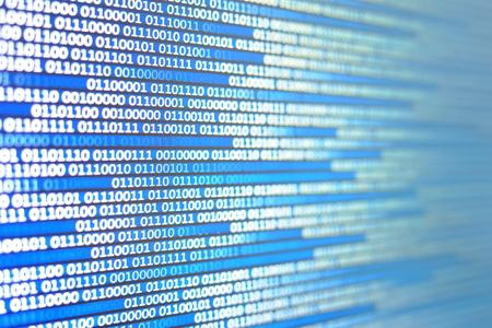Foto de blue led display screen showing one and zero number binary code data. internet information transfers concept background for technology advancement work. - Imagen libre de derechos