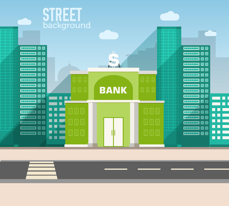 Foto de bank building in city space with road on flat style background c - Imagen libre de derechos