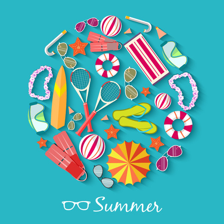 Ilustración de summer vecetion time background vector illustration concept - Imagen libre de derechos