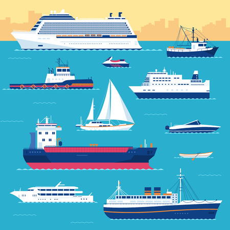 Photo for Set of flat yacht, scooter, boat, cargo ship, steamship, ferry, fishing boat, tug, bulk carrier, vessel, pleasure boat, cruise ship with blue sea background concept. Vector design illustration - Royalty Free Image