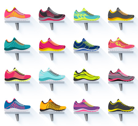 big flat illustration collection set of sneakers running, walking, shopping, style backgrounds. Vector concept elements icons. Colorful template for you design, poster, web and mobile applications