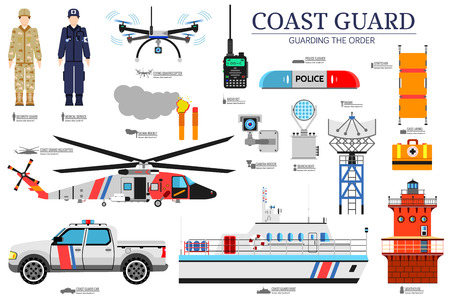 Illustration pour coast guard day flat icons set. Guarding the order background. Devices infographic concept. Layout illustrations template. - image libre de droit
