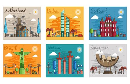 Illustration pour Set of different cities for travel destinations. landmarks banner template of flyer, magazines, posters, book cover, banners. Layout workplace technology flat illustrations modern pages - image libre de droit
