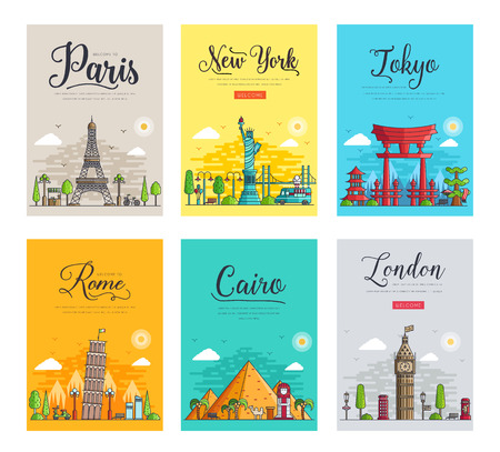 Illustration pour Set of thin lines different cities for travel destinations. Landmarks banner template of flyer, magazines, posters, book cover, banners. Layout workplace technology outline vector illustrations modern - image libre de droit