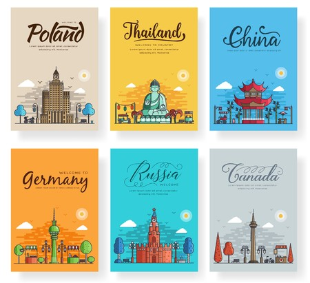 Illustration pour Set of outline different cities for travel destinations. Landmarks banner thin line of flyer, magazines, posters, book cover, banners. Layout world architectural flat illustrations modern pages - image libre de droit