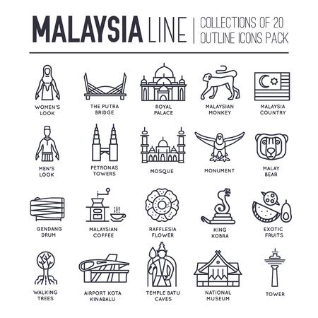 Illustration pour Set of Malaysia travel icons. - image libre de droit