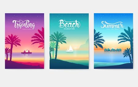 Illustration pour Happy vacation landscape paradise on tropical island. Palm tree silhouette on blue sea - image libre de droit