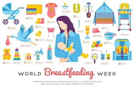 Illustrazione per World breastfeeding week and kids elements flat icon set concept. Child illustrations design - Immagini Royalty Free