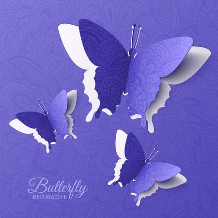 Ilustración de beautiful colorful butterfly background concept. Vector illustration template design - Imagen libre de derechos
