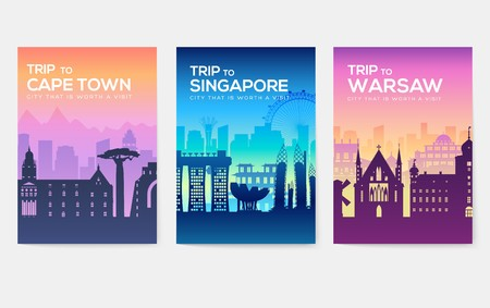 Ilustración de Travel information cards. Landscape template of flyear, magazines, posters, book cover, banners. Country of Chile, Canada, Thailand, Spain, Malaysia, Africa, Asia, Poland, UAE and Jerusalem set - Imagen libre de derechos