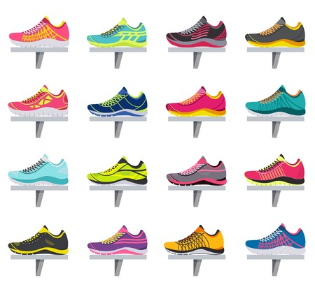 big flat illustration collection set of sneakers running, walking, shopping, style backgrounds. Vector concept elements icons. Colorful template for you design, poster, web and mobile applications.