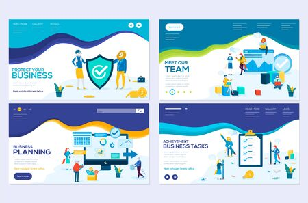Illustrazione per Business school website templates set. Business protection, insurance coaching vector landing page. Time management seminar web banner with copyspace. Teamwork. Cartoon characters with animals heads - Immagini Royalty Free