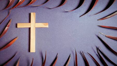 Photo for Lent Season,Holy Week and Good Friday concepts - photo of wooden cross with palm leave in vintage background - Royalty Free Image