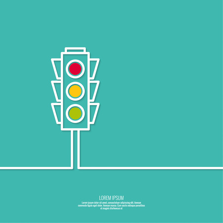 Abstract background with traffic lights. Red, green, yellow light. vector icons. Outline. minimal.